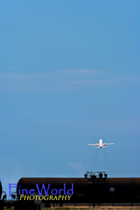 Jet Airplane Take-Off, Shimmering Airplane