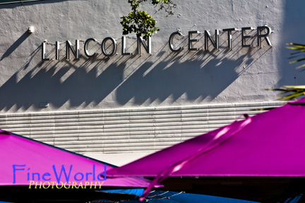 Lincoln Center sign and umbrellas